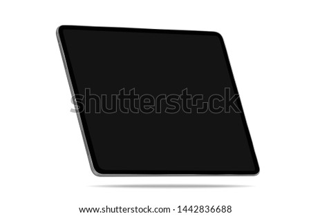 Tablet black Realistic with isolated on white background