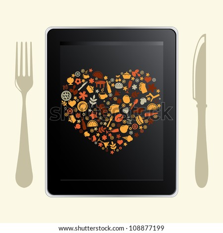 Tablet Computer And Food Icons, Isolated On White Background, Vector Illustration