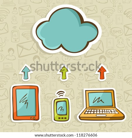 Tablet, computer and mobile devices cloud computing connected. Vector illustration layered for easy manipulation and custom coloring.