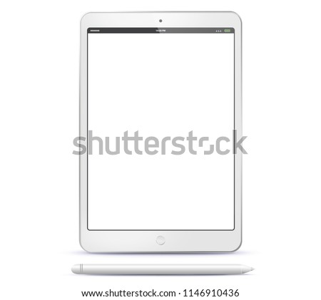 tablet computer and pen vector