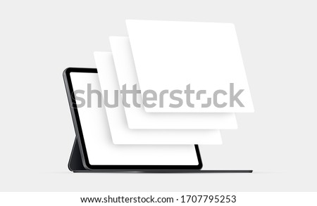 Tablet computer mockup with blank wireframing pages. Concept for showcasing web-design projects. Vector illustration