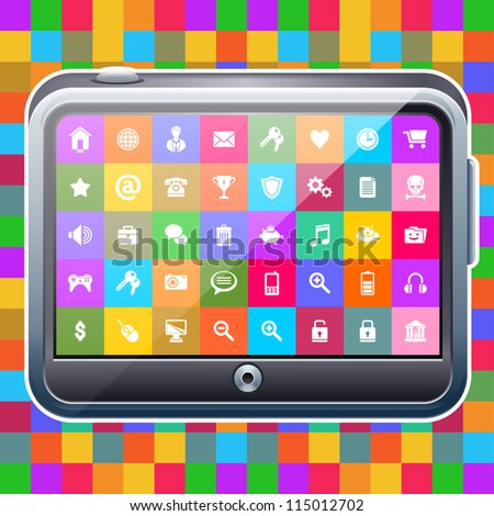 Tablet computer on colorful background