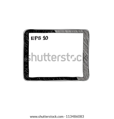 tablet computer pc sketch vector illustration