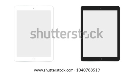 Tablet computer top in white and black color set. Tablet computer top view set. Two  tablet white and black set top view with grey empty screen.