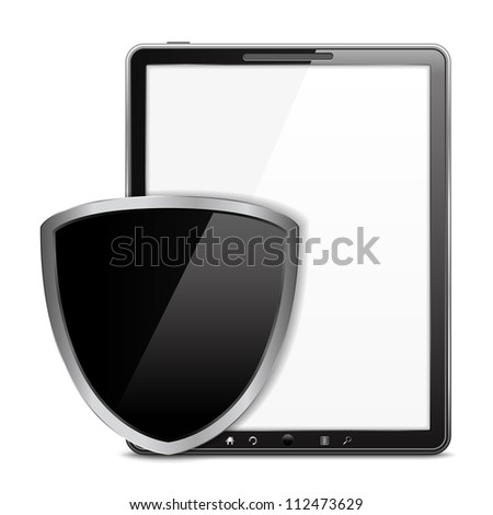 Tablet computer with black shield, vector eps10 illustration