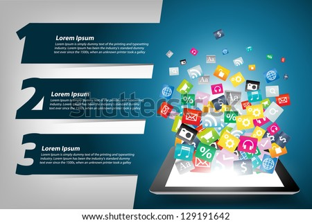 Tablet computer With Colorful application icon concept, With Modern Design template / infographics / numbered banners, Vector illustration presentations with letters numbers