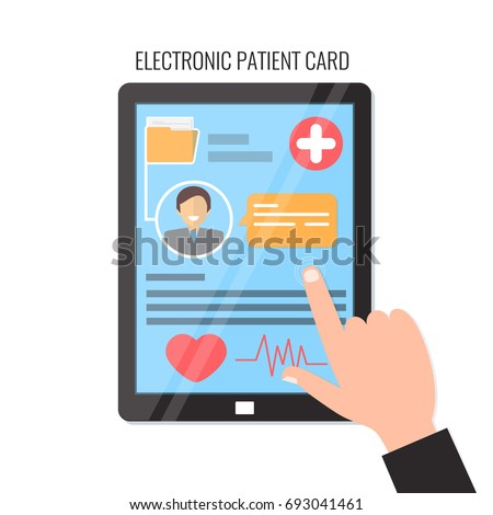 Tablet  computer with electronic patient card. Electronic medical card. Online medical card. Vector illustration.