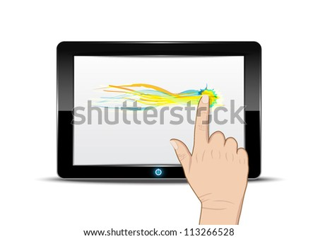 Tablet computer with hand drag on screen