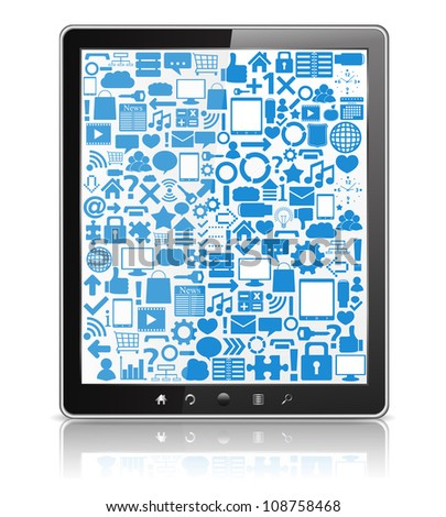 Tablet computer with icons on the screen, vector eps10 illustration