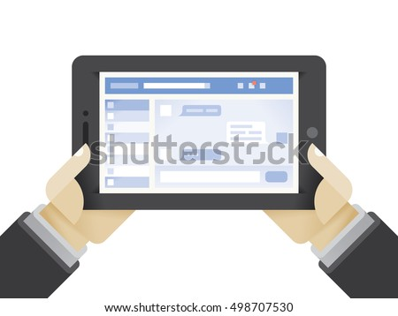 Tablet computer with social network chat page in businessman hands. Idea - Social networking in modern business conversations.