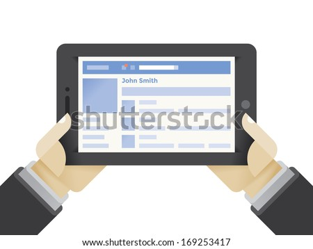 Tablet computer with social network internet page in businessman hands. Idea - Using social networks in modern business, online friendship and business contacts for negotiations