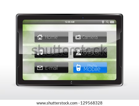 """Tablet concept with a blue """"Pay by Mobile"""" button."""