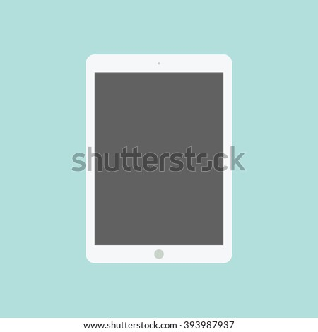 Tablet flat icon in ipad style. Tablet computer with blank screen. Vector illustration. EPS10.