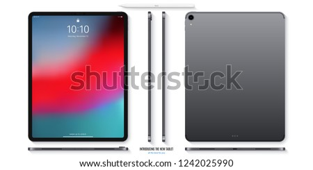 tablet grey color with colored touch screen saver and stylus with shadow top view isolated on white background. realistic and detailed device mockup. stock vector illustration
