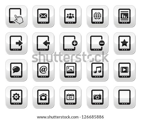 Tablet grey square buttons set - vector