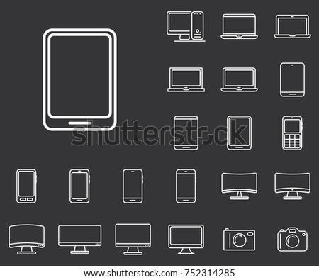 Tablet icon in set on the black background.  Set of thin, linear and modern electronic equipment icons. Universal linear icons to use in web and mobile app.