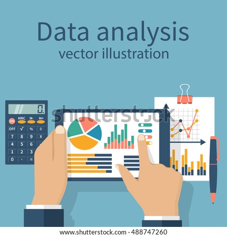 Tablet in hands businessman, statistical datawith charts and diagrams. Workplace documents for financial  analysis, statistics, reporting, strategy development. Vector, flat design.