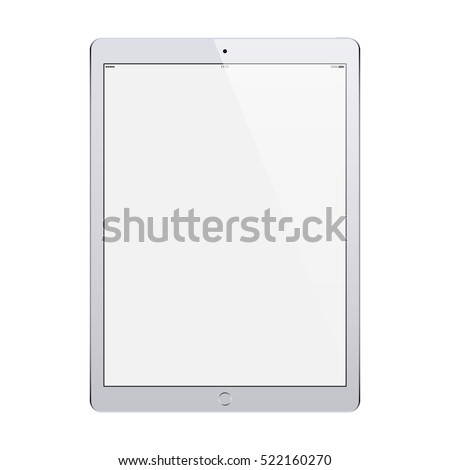 tablet in ipad style grey color with blank touch screen isolated on white background. stock vector illustration eps10
