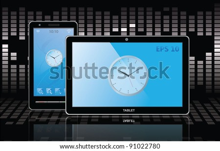 tablet pc and cell phone. vector