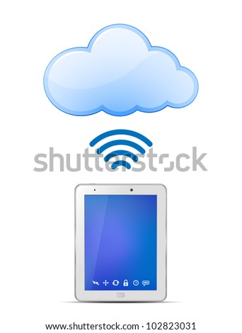 Tablet PC and Cloud computing. Wireless cloud computing concept. Vector Illustration