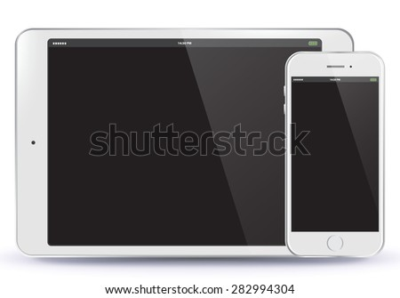 Tablet PC and Mobile Phone Vector illustration.