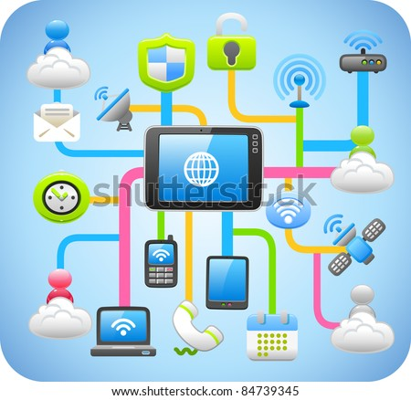 Tablet PC,cloud computing,network concept