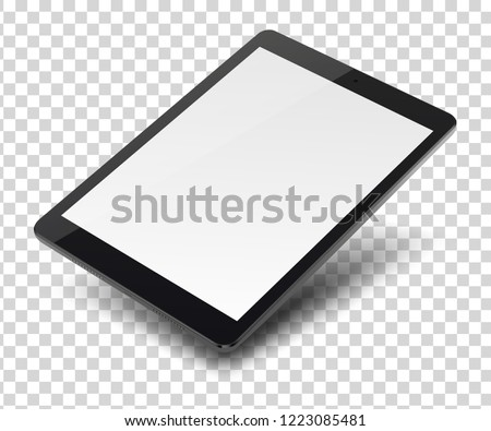 Tablet pc computer with blank screen on transparent background.  Vector illustration.