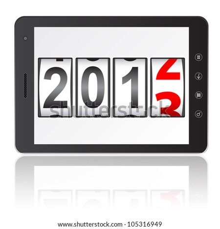 Tablet PC computer with 2013 New Year counter isolated on white background. Vector  illustration.