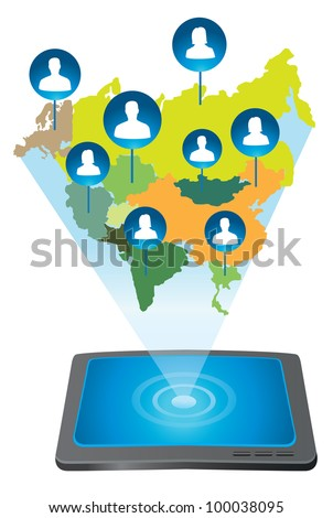 tablet pc connecting with people - vector illustration