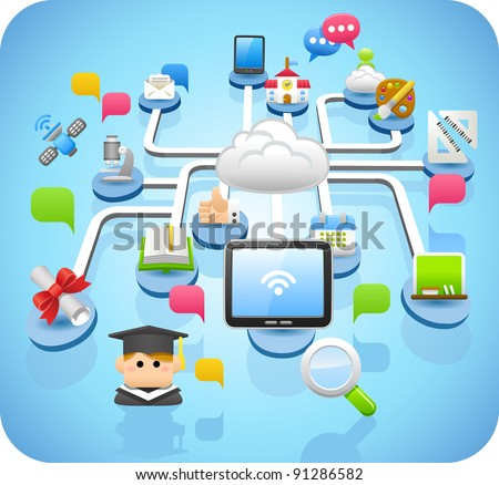 tablet pc, education,cloud computing  concept