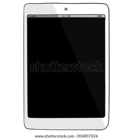 tablet pc hand drawn vector