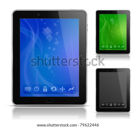 Tablet Pc With Abstract Background And Icons. User ...