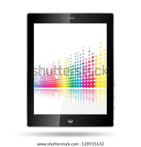 tablet pc with equalizer colorful lines