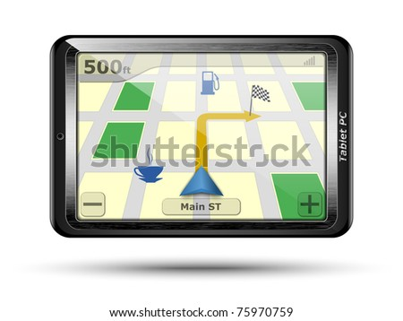 Tablet PC with GPS in original design. Vector