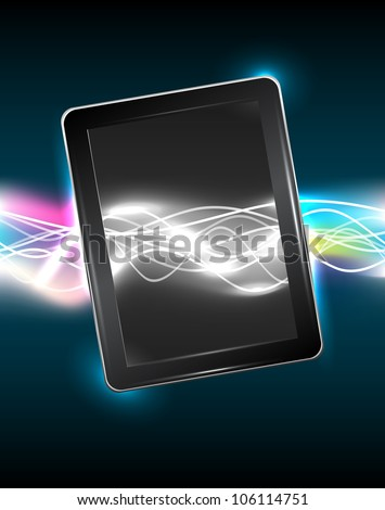 Tablet pc with magic vivid light, vector illustration, eps10, easy editable, 3 layers - stock vector