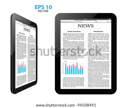 tablet pc with news.vector - stock vector