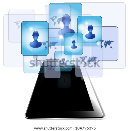 Tablet pc with people communicating