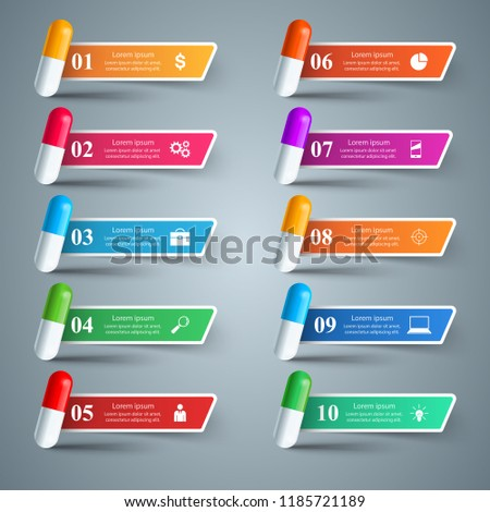 Tablet pill, pharmacology icon. Infographic 10 items Vector eps 10