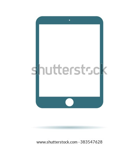Tablet screen icon with shadow isolated on white background. Modern simple flat device sign for web site design, mobil app. Trendy vector tablet mockup display symbol. Logo tablet illustration.