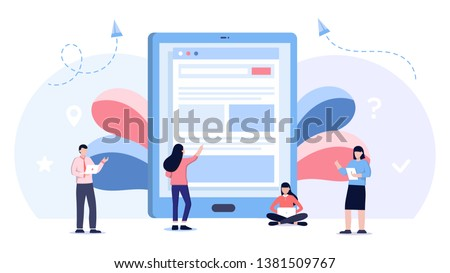 tablet screen with empty Internet browser window template. Internet searching, seo optimization. Flat vector illustration for web site, app, banner with tiny people #1381509767
