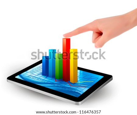 Tablet screen with graph and a hand. Vector