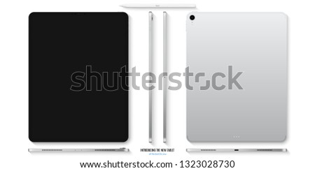 tablet silver color with black touch screen saver and stylus with shadow top view isolated on white background. realistic and detailed device mockup. stock vector illustration