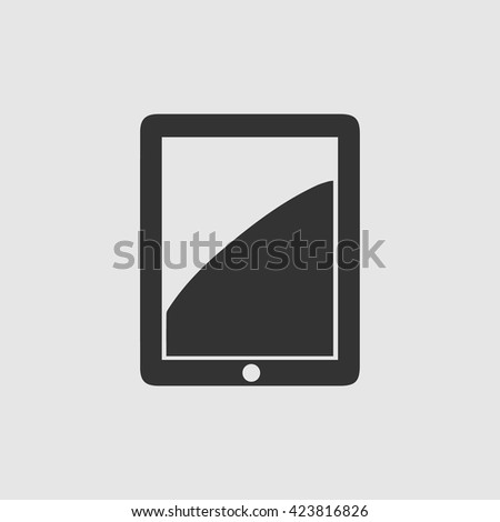 Tablet vector icon eps 10. Simple black illustration isolated on grey background.