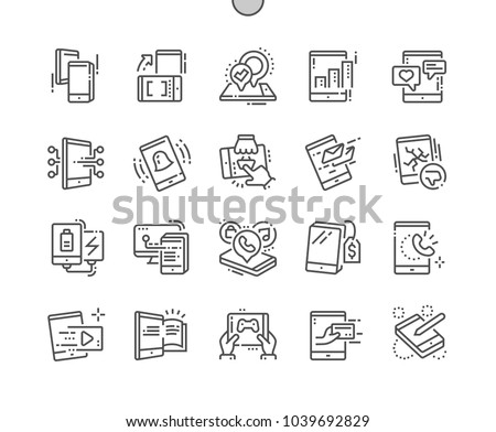 Tablet Well-crafted Pixel Perfect Vector Thin Line Icons 30 2x Grid for Web Graphics and Apps. Simple Minimal Pictogram
