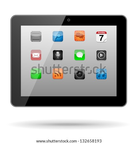 Tablet with App Icons - Vector tablet with app icons on its screen in a horizontal orientation.  Eps10 file with transparency.