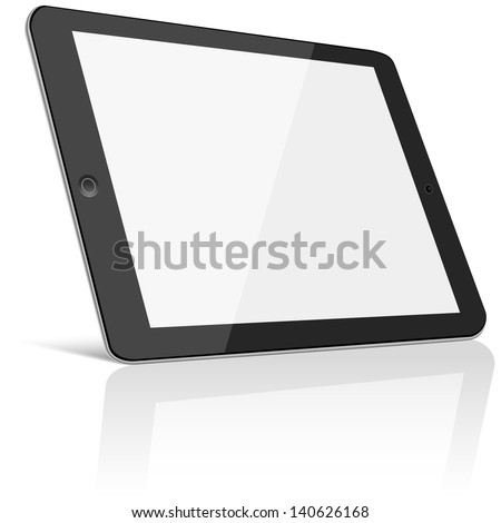 Tablet with Blank Screen - Black tablet with blank, shiny screen isolated on white background.  File is layered.  Eps10 file with transparency.