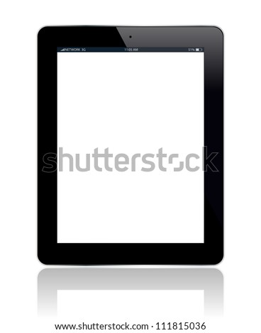 Tablet with blank screen. You can add any picture you want. Vector illustration.