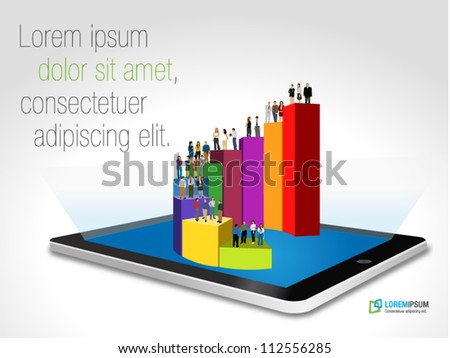 Tablet with business people over bar chart