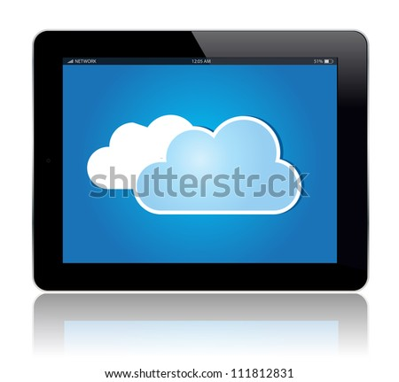 Tablet with cloud sign.Vector illustration./Tablet Cloud