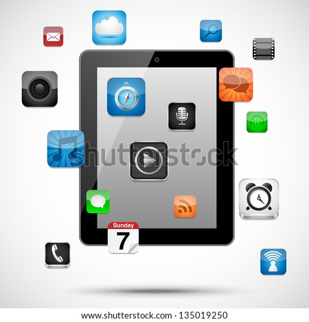 Tablet with Floating Apps - Vector tablet with app icons floating around it.  Eps10 file with transparency.